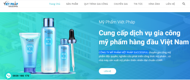 Công ty mỹ phẩm Việt Pháp Successful chuyên gia công các loại mỹ phẩm